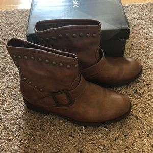 NWOT X Appeal Brown Leather Ankle Boots